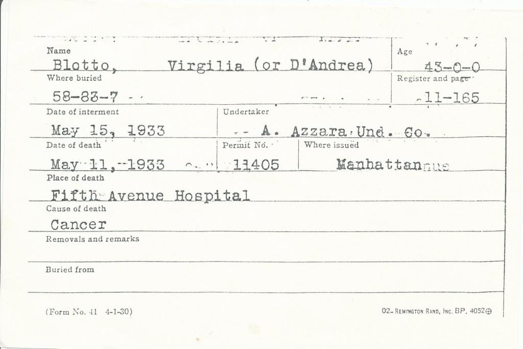 Virgilia D'Andrea (sepoltura)