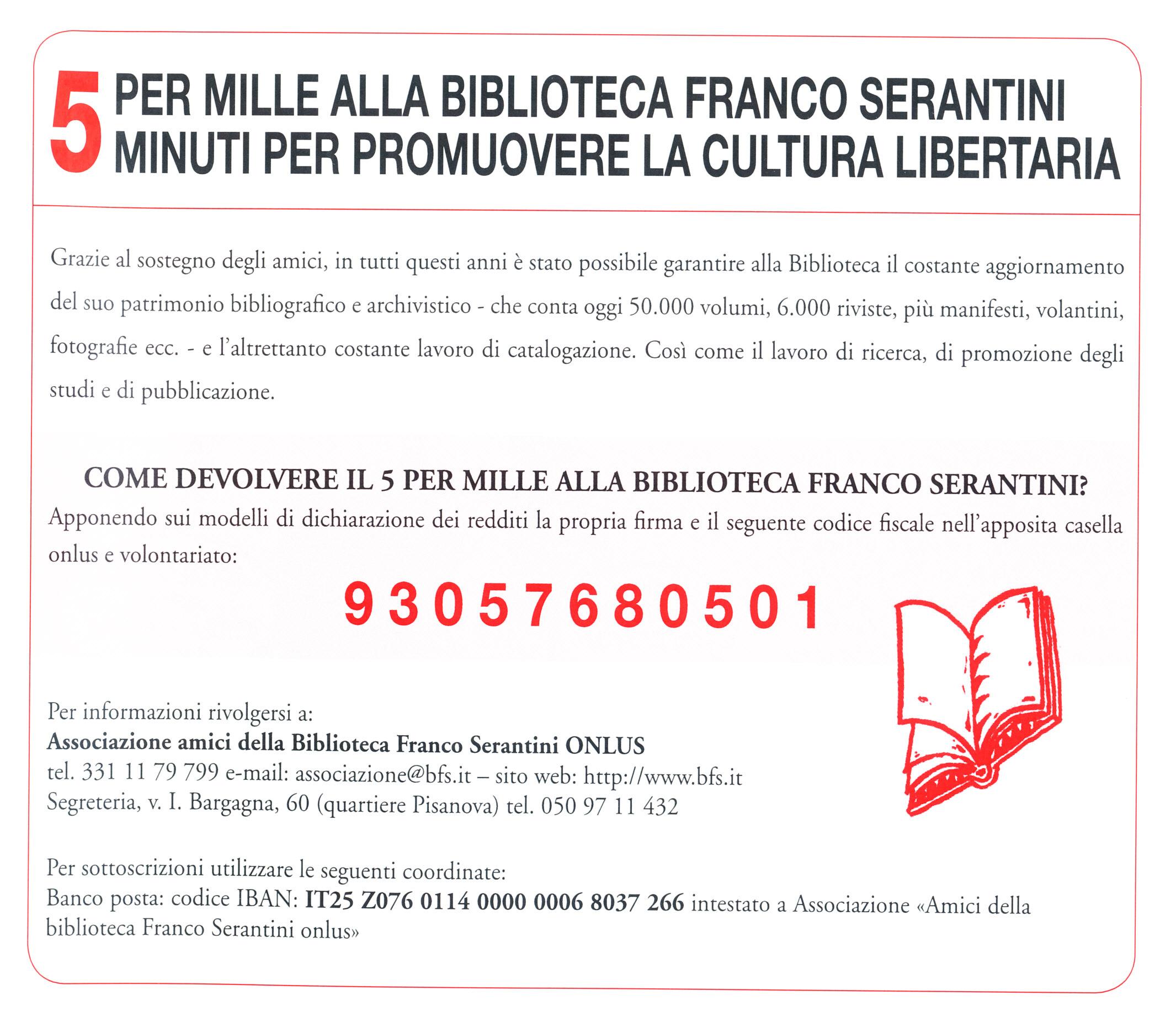 5xmille alla Biblioteca Franco Serantini